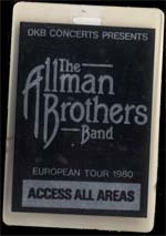 Allman Brothers Band crew pass