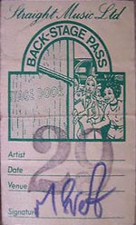 Boomtown Rats back stage pass