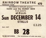 Echo & The Bunnymen ticket