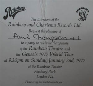 Invite to Rainbow Theatre re-opening party