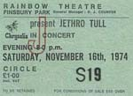 Jethro Tull ticket