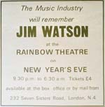 Advert for Jim Watson tribute night