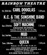 Press Advert for some Mel Bush promoted shows Oct/Nov 1974