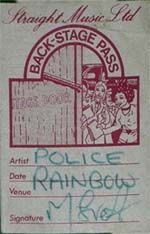 Police back stage pass