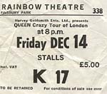 "Queen ""Crazy tour of London"" ticket"