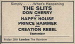 The Slits press advert