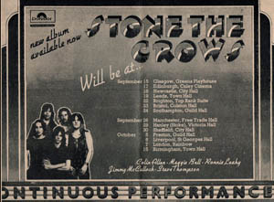 Stone the Crows Tour advert
