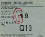 Centipede ticket Dec 1971
