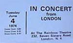 """In Concert"" The Kinks Ticket"