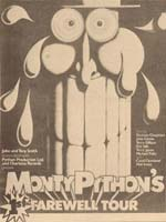 Press advert for Monty Python's 1st farewell tour